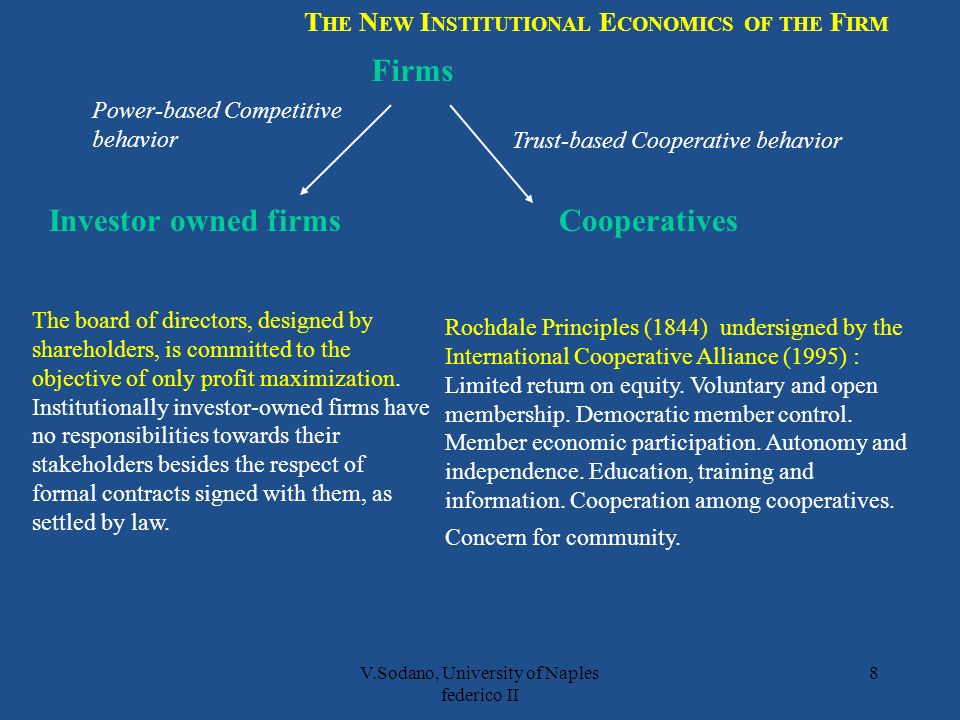 V.Sodano, University of Naples federico II 8 Firms Investor owned firmsCooperatives Rochdale Principles (1844) undersigned by the International Cooperative Alliance (1995) : Limited return on equity.