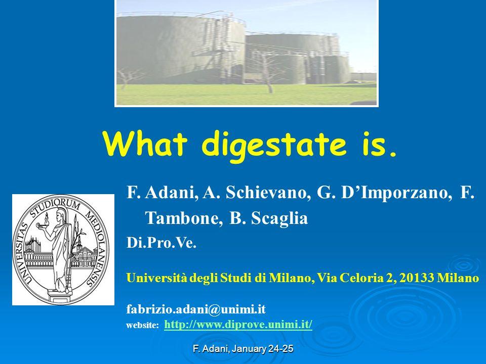 F. Adani, January 24-25 What digestate is. F. Adani, A. Schievano, G. DImporzano, F. Tambone, B. Scaglia Di.Pro.Ve. Università degli Studi di Milano,