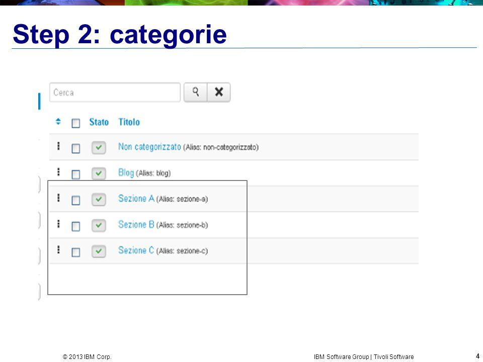 4 © 2013 IBM Corp. IBM Software Group | Tivoli Software Step 2: categorie