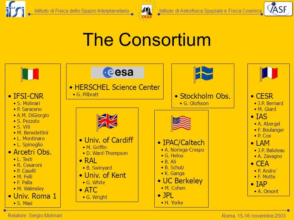 The Consortium IFSI-CNR S. Molinari P. Saraceno A.M. DiGiorgio S. Pezzuto S. Viti M. Benedettini L. Montinaro L. Spinoglio Arcetri Obs. L. Testi R. Ce