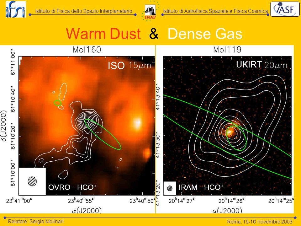 Istituto di Astrofisica Spaziale e Fisica CosmicaIstituto di Fisica dello Spazio Interplanetario Relatore: Sergio Molinari ISO OVRO - HCO + Warm Dust