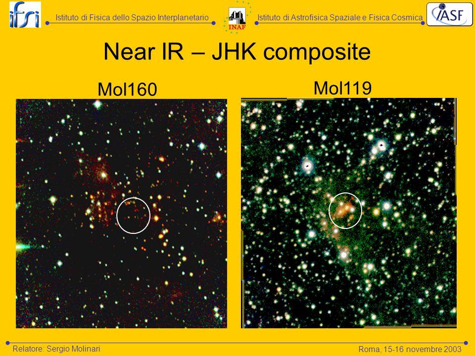 Mol160 Mol119 Near IR – JHK composite Istituto di Astrofisica Spaziale e Fisica CosmicaIstituto di Fisica dello Spazio Interplanetario Relatore: Sergi