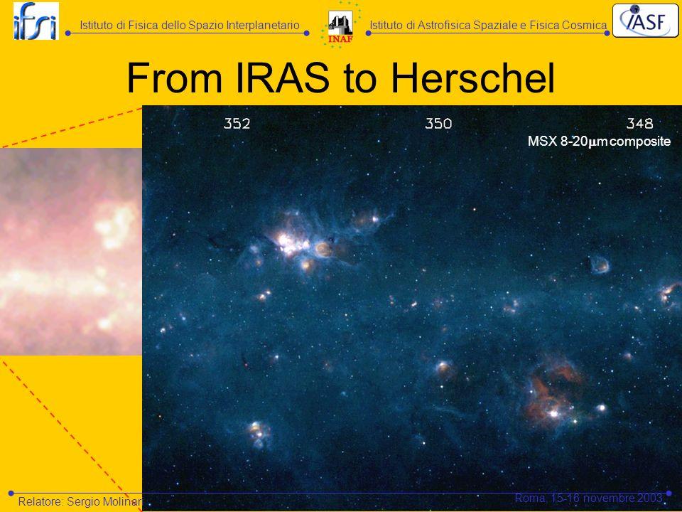 MSX 8-20 m composite From IRAS to Herschel Istituto di Astrofisica Spaziale e Fisica CosmicaIstituto di Fisica dello Spazio Interplanetario Relatore: