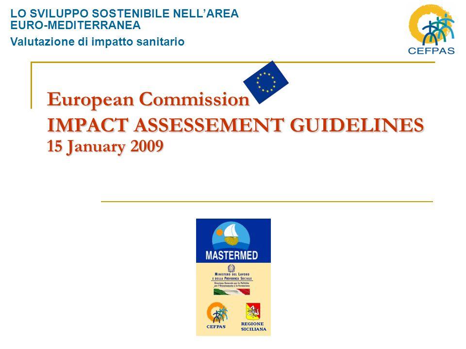 European Commission IMPACT ASSESSEMENT GUIDELINES 15 January 2009 LO SVILUPPO SOSTENIBILE NELLAREA EURO-MEDITERRANEA Valutazione di impatto sanitario