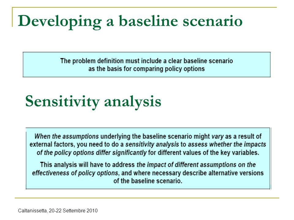 Caltanissetta, 20-22 Settembre 2010 Developing a baseline scenario Sensitivity analysis