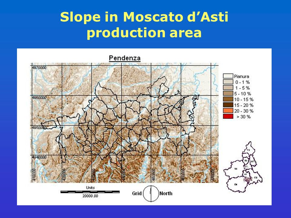Slope in Moscato dAsti production area