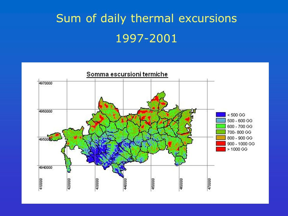 Sum of daily thermal excursions 1997-2001