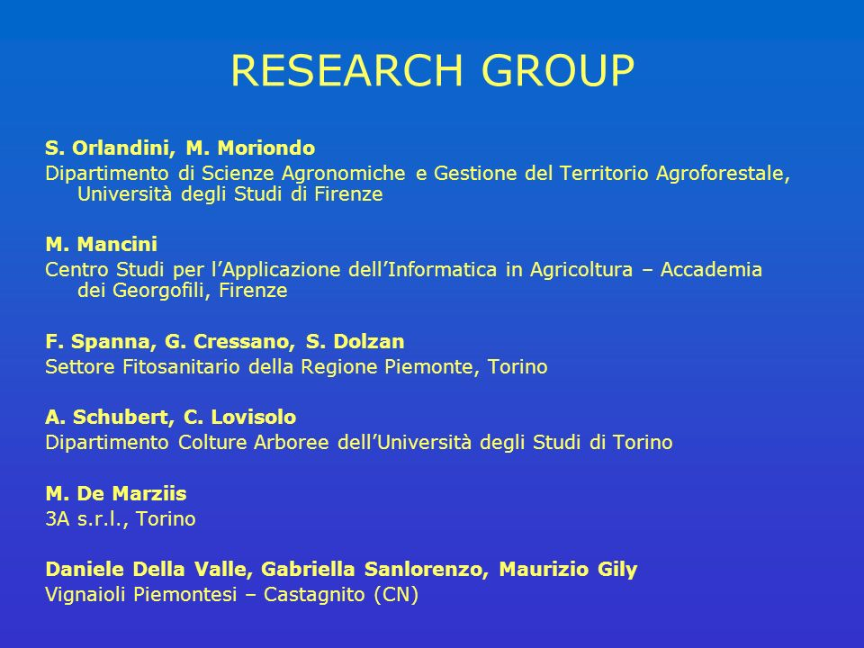 RESEARCH GROUP S.Orlandini, M.