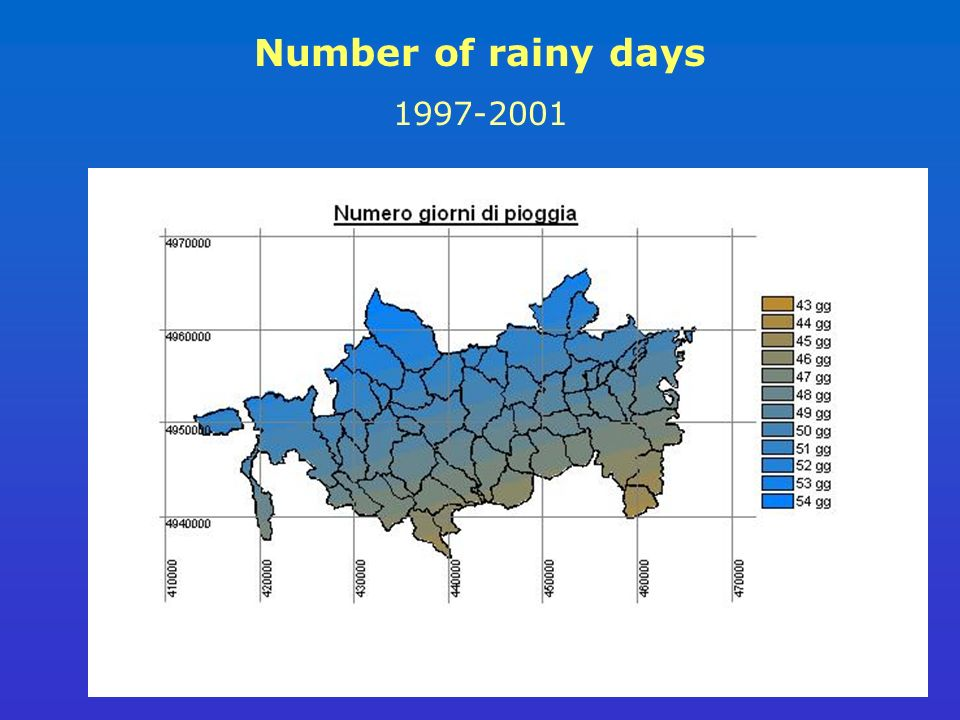 Number of rainy days 1997-2001
