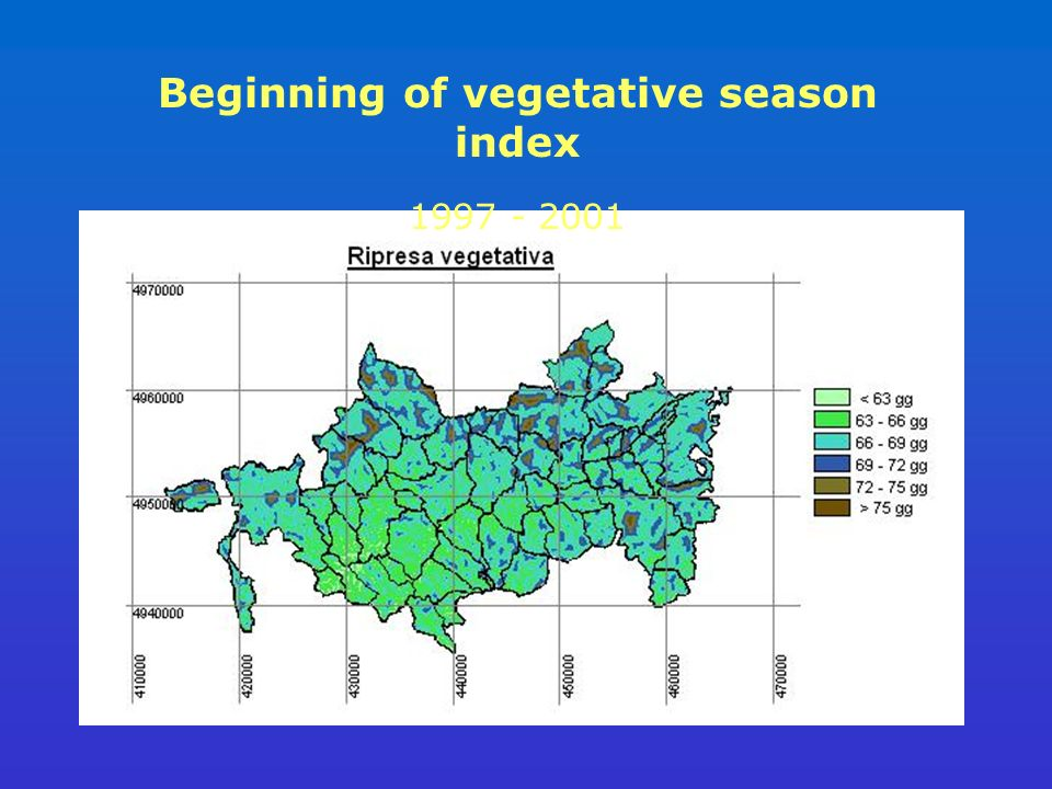 Beginning of vegetative season index 1997 - 2001