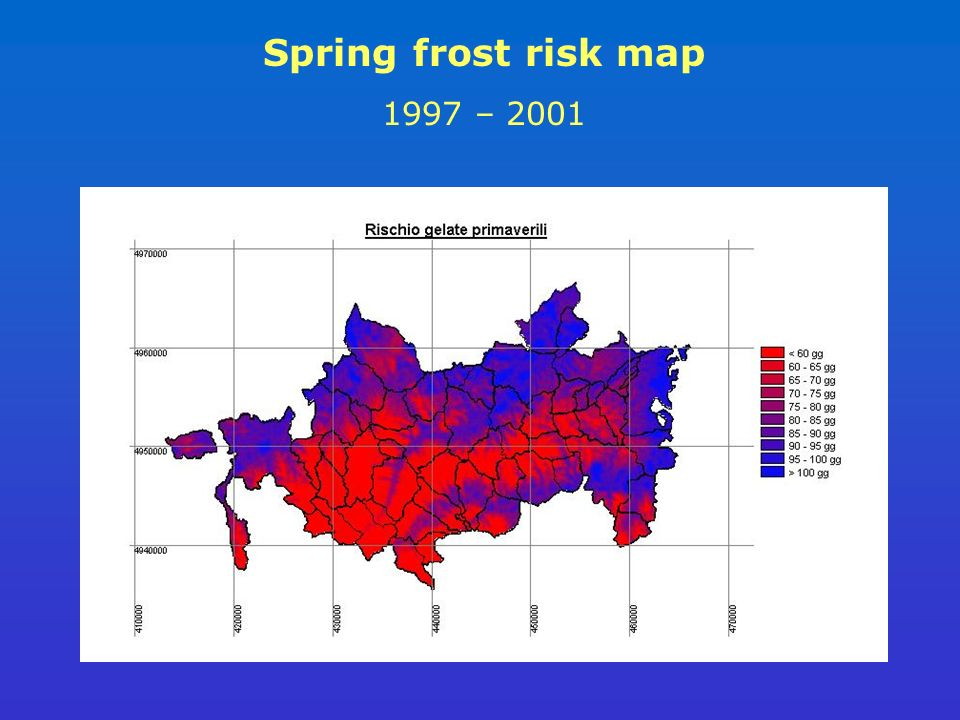 Spring frost risk map 1997 – 2001