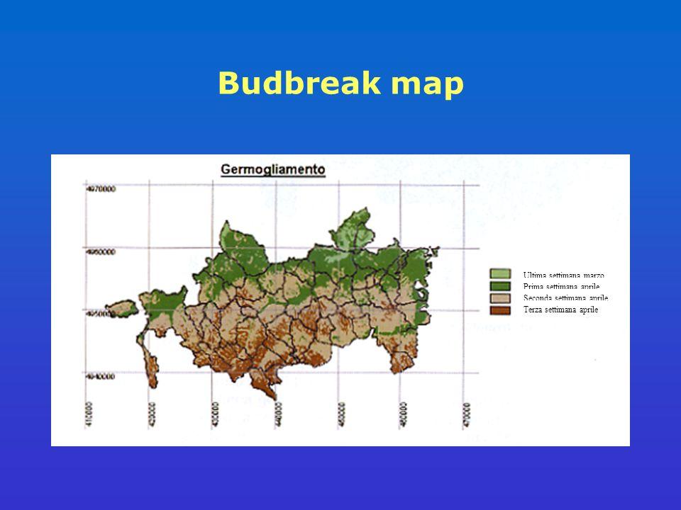 Budbreak map Ultima settimana marzo Prima settimana aprile Seconda settimana aprile Terza settimana aprile