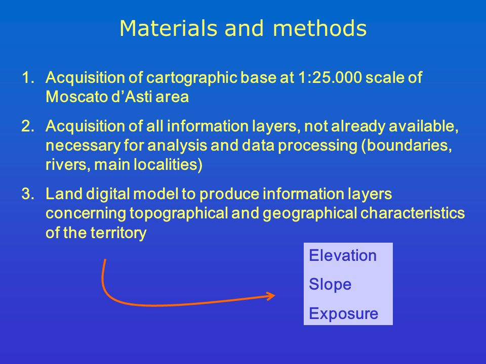 Materials and methods 1.Acquisition of cartographic base at 1:25.000 scale of Moscato dAsti area 2.Acquisition of all information layers, not already