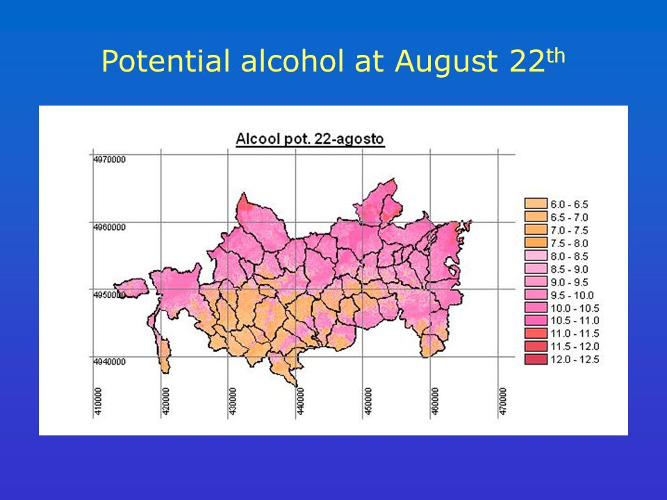 Potential alcohol at August 22 th
