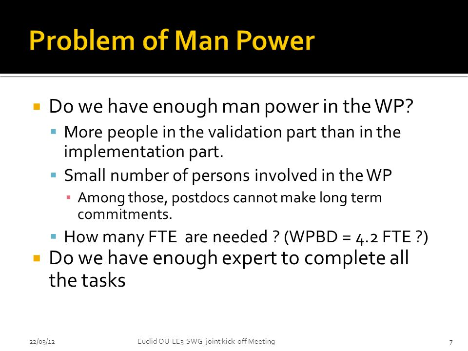 Do we have enough man power in the WP.