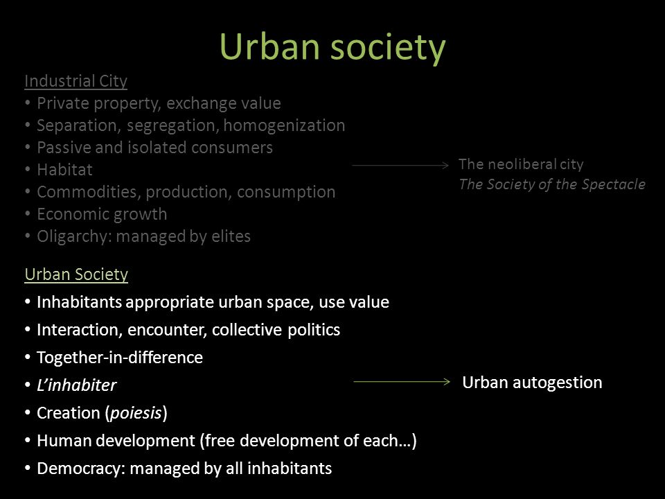 Urban society Urban Society Inhabitants appropriate urban space, use value Interaction, encounter, collective politics Together-in-difference Linhabit