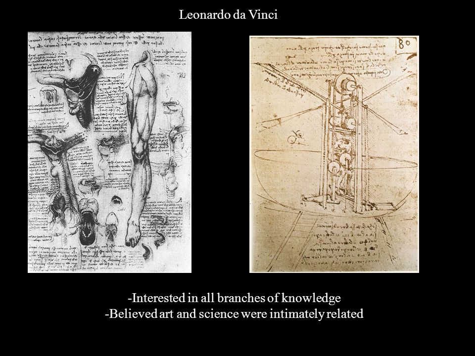 Leonardo da Vinci -Interested in all branches of knowledge -Believed art and science were intimately related