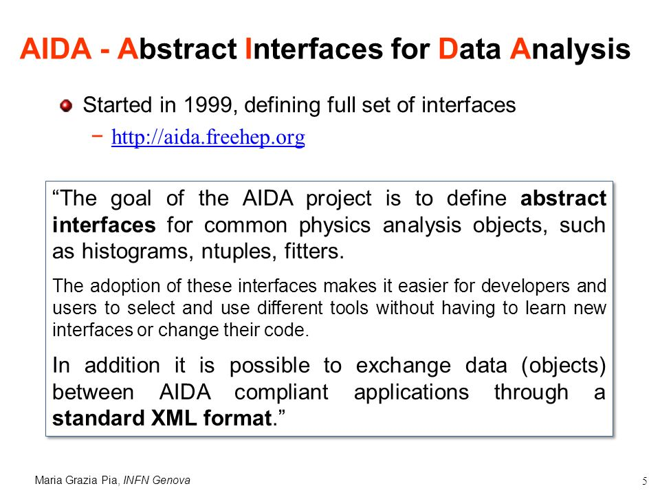 Maria Grazia Pia, INFN Genova 5 AIDA - Abstract Interfaces for Data Analysis Started in 1999, defining full set of interfaces http://aida.freehep.org The goal of the AIDA project is to define abstract interfaces for common physics analysis objects, such as histograms, ntuples, fitters.