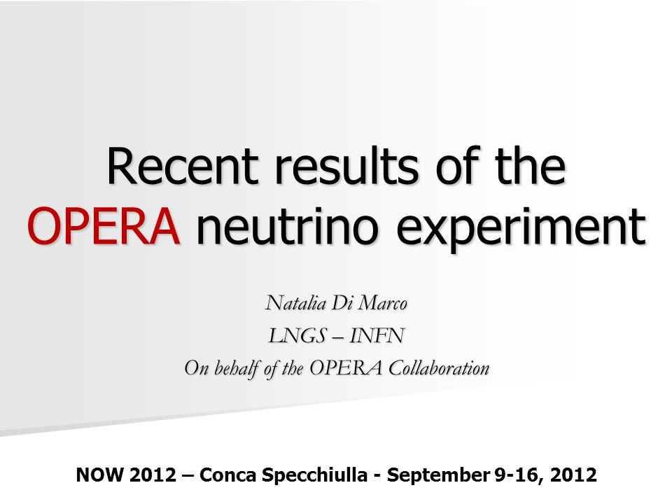 Recent results of the OPERA neutrino experiment Natalia Di Marco LNGS – INFN On behalf of the OPERA Collaboration NOW 2012 – Conca Specchiulla - September 9-16, 2012