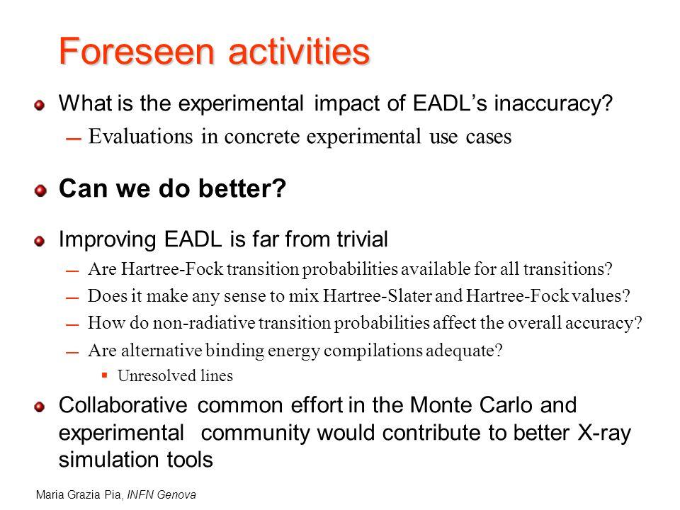 Maria Grazia Pia, INFN Genova Foreseen activities What is the experimental impact of EADLs inaccuracy.