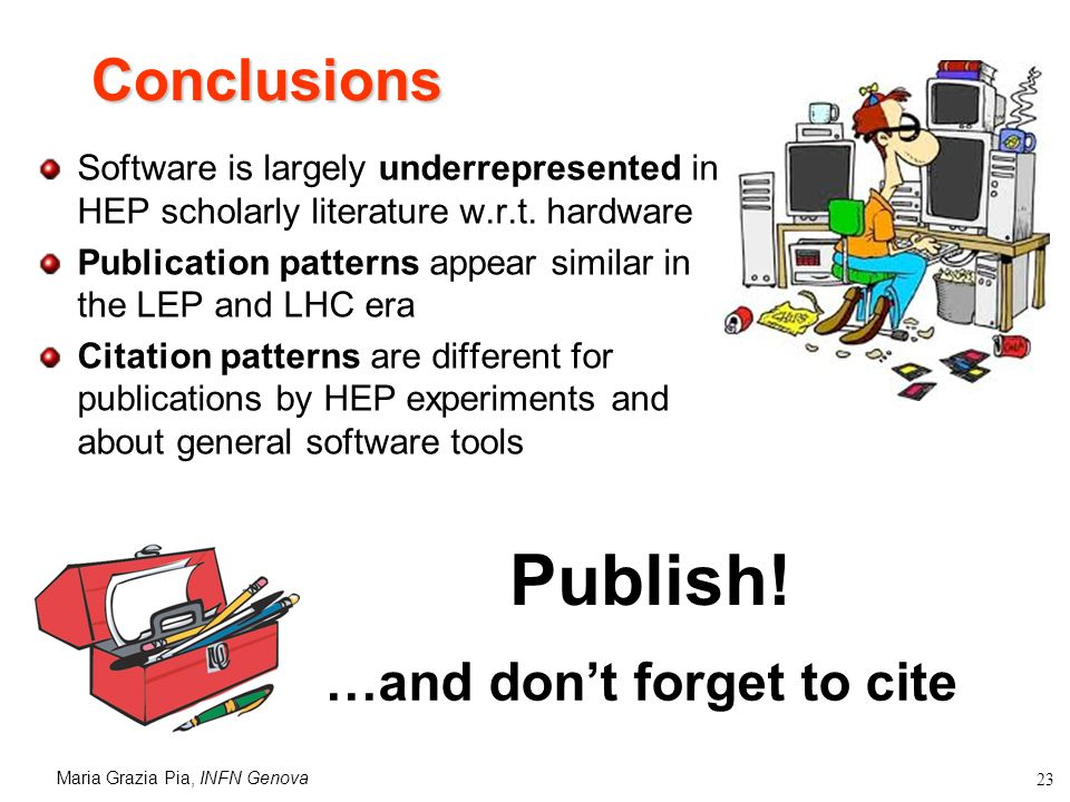 Maria Grazia Pia, INFN Genova 23 Conclusions Software is largely underrepresented in HEP scholarly literature w.r.t.