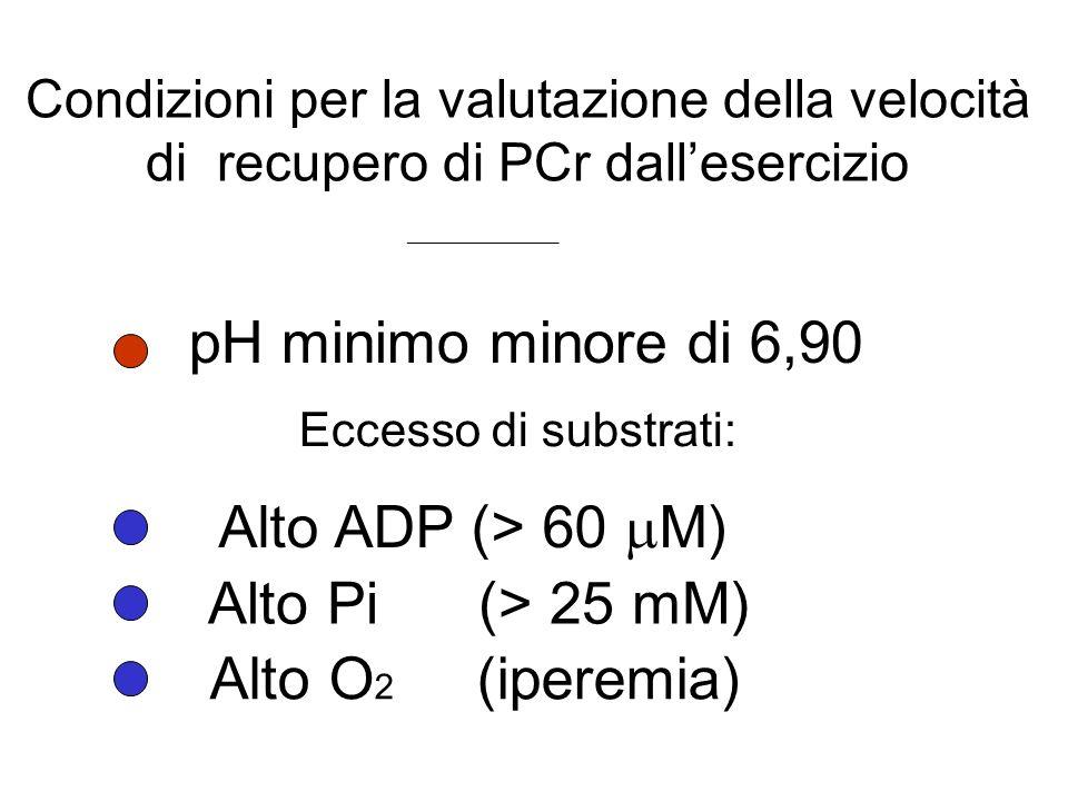 Condizioni per la valutazione della velocità di recupero di PCr dallesercizio pH minimo minore di 6,90 Eccesso di substrati: Alto ADP (> 60 M) Alto Pi (> 25 mM) Alto O 2 (iperemia) __________