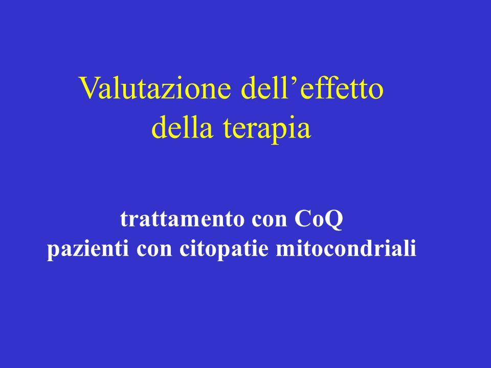 Valutazione delleffetto della terapia trattamento con CoQ pazienti con citopatie mitocondriali