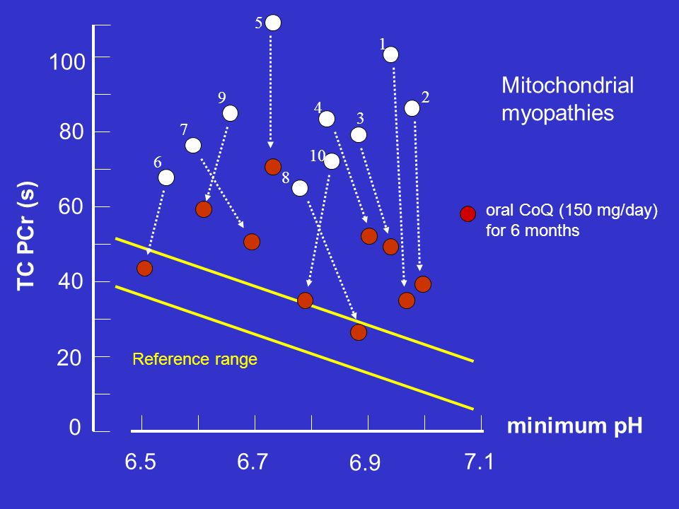 Reference range 6.56.77.1 minimum pH 6.9 TC PCr (s) 20 40 80 60 100 0 6 7 9 5 1 2 3 4 10 8 oral CoQ (150 mg/day) for 6 months Mitochondrial myopathies