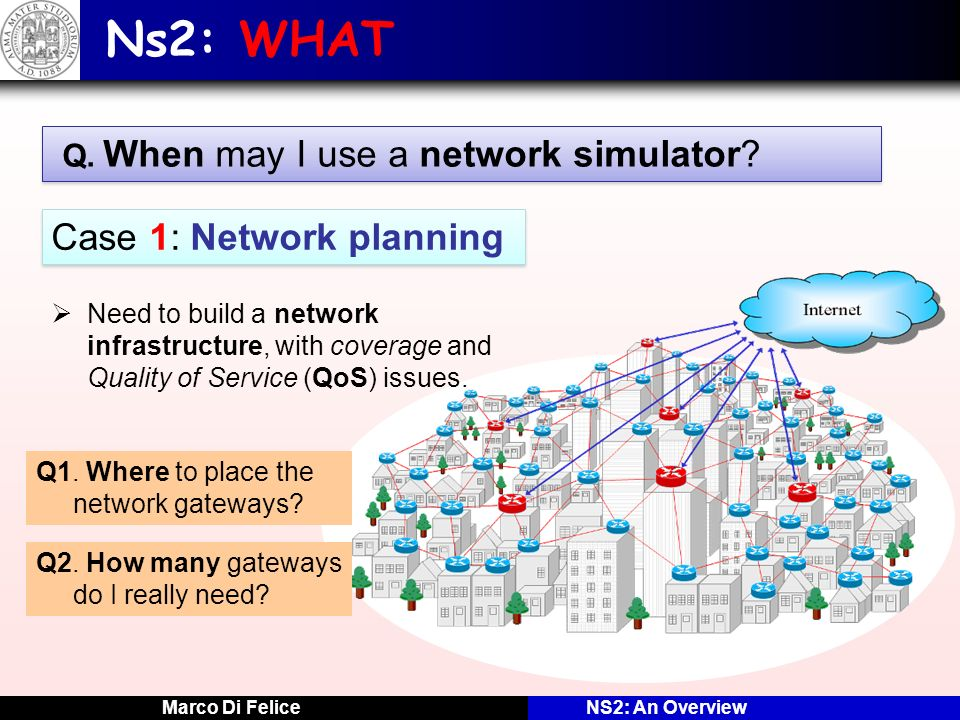 Marco Di FeliceNS2: An Overview NS2: HOW Lets make an example on a network scenario … NODE ANODE B APPLICATION MAC APPLICATION MAC ETHERNET LINK SIMULATION TIME: 5 EVENT LIST 5 5 Recv 5.2 B.APPLICATION E5E5 E3E3 3 3 Send 8 8 A.APPLICATION