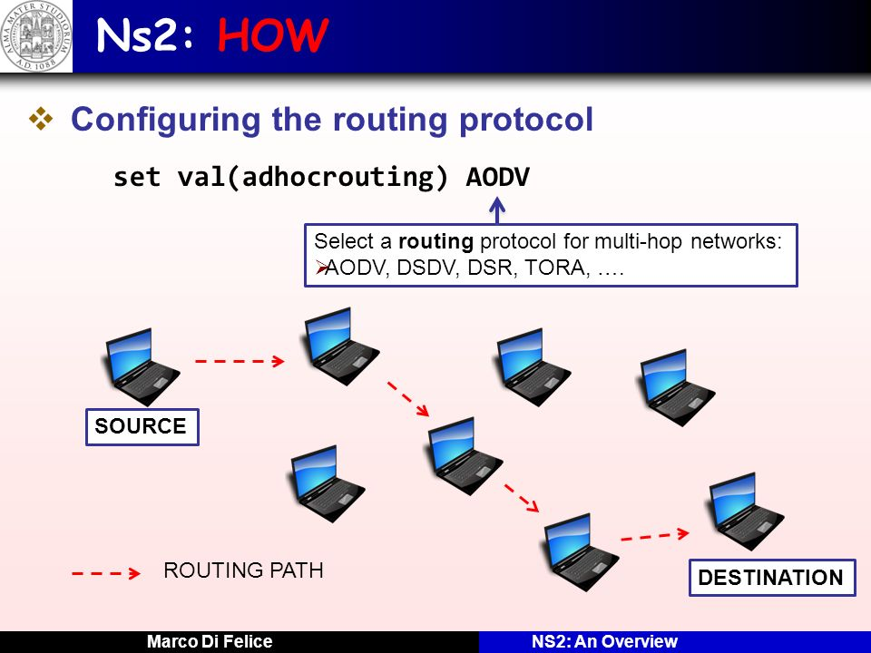 Marco Di FeliceNS2: An Overview Ns2: HOW Configuring the routing protocol set val(adhocrouting) AODV Select a routing protocol for multi-hop networks: