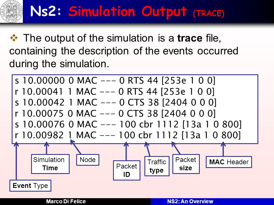 Marco Di FeliceNS2: An Overview Ns2: Simulation Output (TRACE) The output of the simulation is a trace file, containing the description of the events