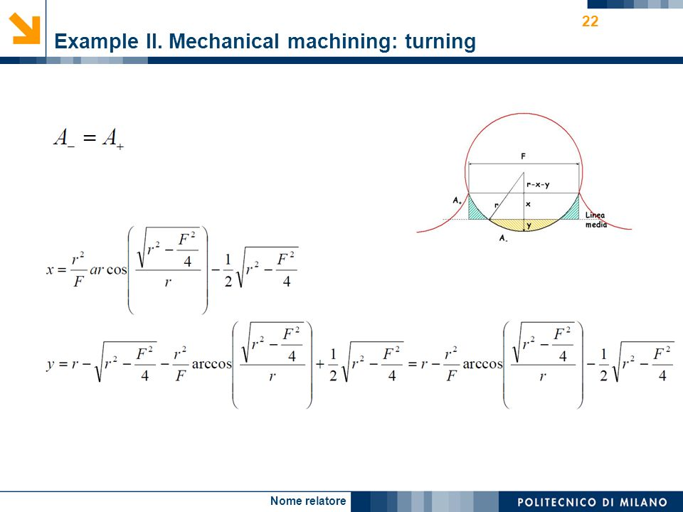 Nome relatore 22 Example II. Mechanical machining: turning