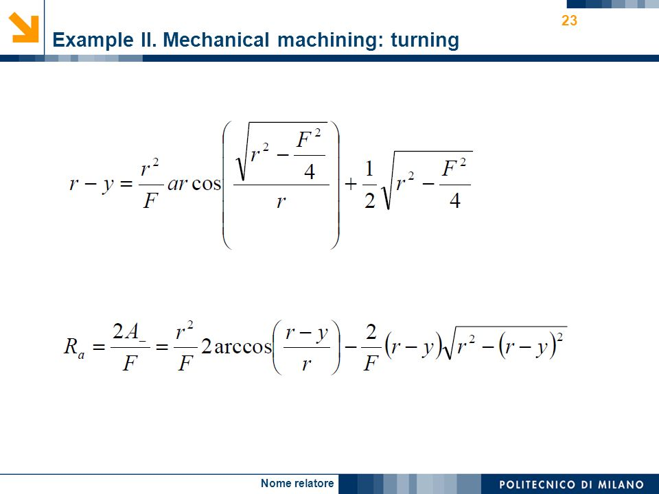 Nome relatore 23 Example II. Mechanical machining: turning