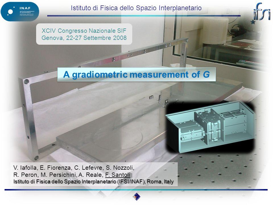 Istituto di Fisica dello Spazio Interplanetario A gradiometric measurement of G XCIV Congresso Nazionale SIF Genova, 22-27 Settembre 2008 V.
