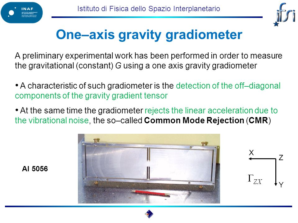 Istituto di Fisica dello Spazio Interplanetario A characteristic of such gradiometer is the detection of the off–diagonal components of the gravity gradient tensor At the same time the gradiometer rejects the linear acceleration due to the vibrational noise, the so–called Common Mode Rejection (CMR) One–axis gravity gradiometer Al 5056 X Y Z A preliminary experimental work has been performed in order to measure the gravitational (constant) G using a one axis gravity gradiometer