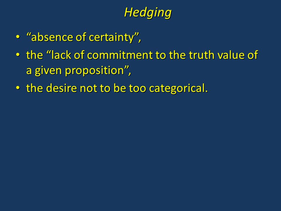 How to detect hedging in scientific discourse.