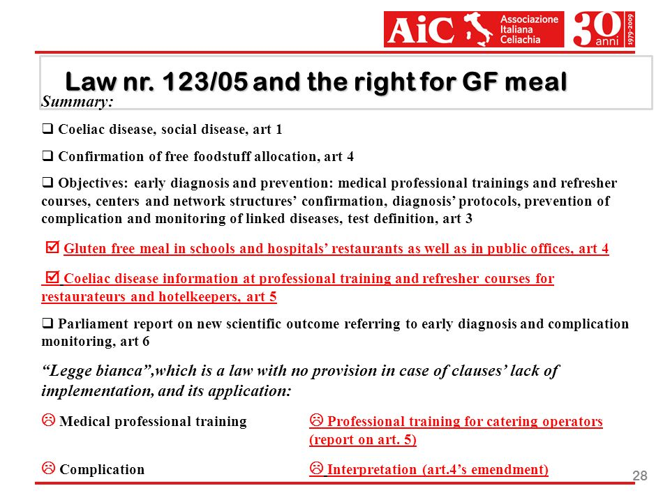 28 Law nr. 123/05 and the right for GF meal Summary: Coeliac disease, social disease, art 1 Confirmation of free foodstuff allocation, art 4 Objective