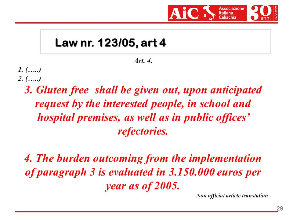 29 Law nr. 123/05, art 4 Art. 4. 1. (…..) 2. (…..) 3. Gluten free shall be given out, upon anticipated request by the interested people, in school and