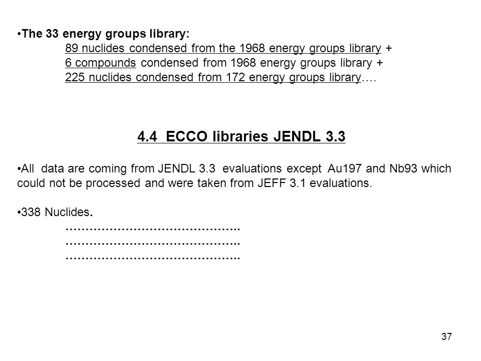 37 The 33 energy groups library: 89 nuclides condensed from the 1968 energy groups library + 6 compounds condensed from 1968 energy groups library + 225 nuclides condensed from 172 energy groups library….