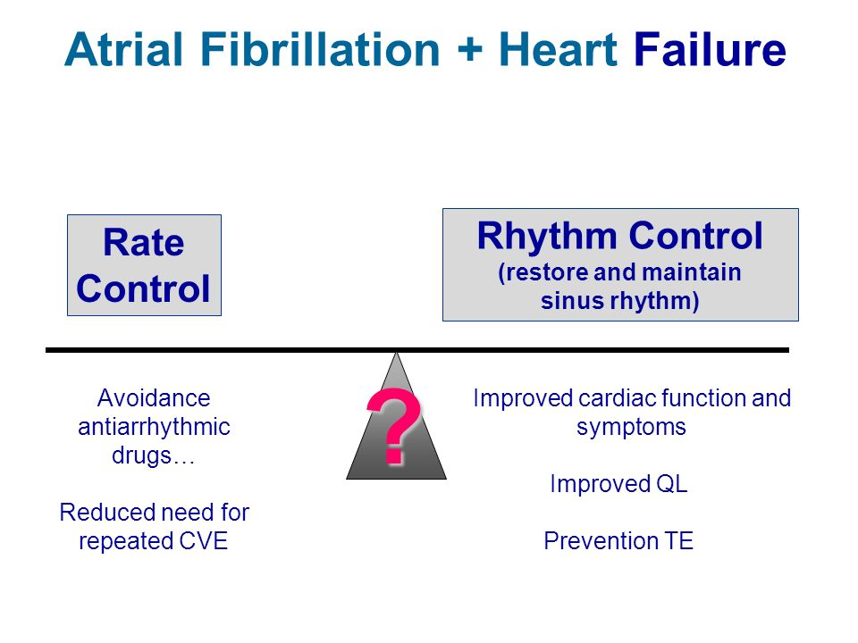Atrial Fibrillation + Heart Failure Rate Control Rhythm Control (restore and maintain sinus rhythm) ? Avoidance antiarrhythmic drugs… Reduced need for