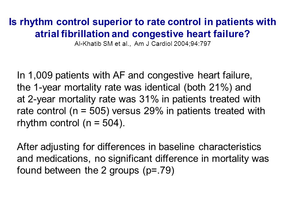 Is rhythm control superior to rate control in patients with atrial fibrillation and congestive heart failure? Al-Khatib SM et al., Am J Cardiol 2004;9
