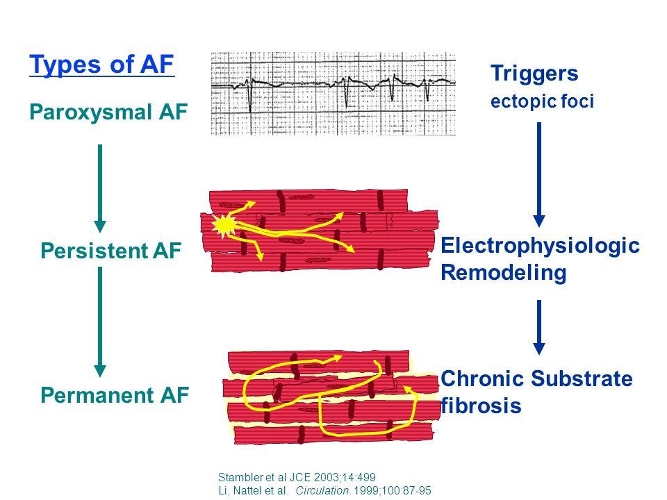 Paroxysmal AF Persistent AF Permanent AF Triggers ectopic foci Electrophysiologic Remodeling Chronic Substrate fibrosis Stambler et al JCE 2003;14:499 Li, Nattel et al.