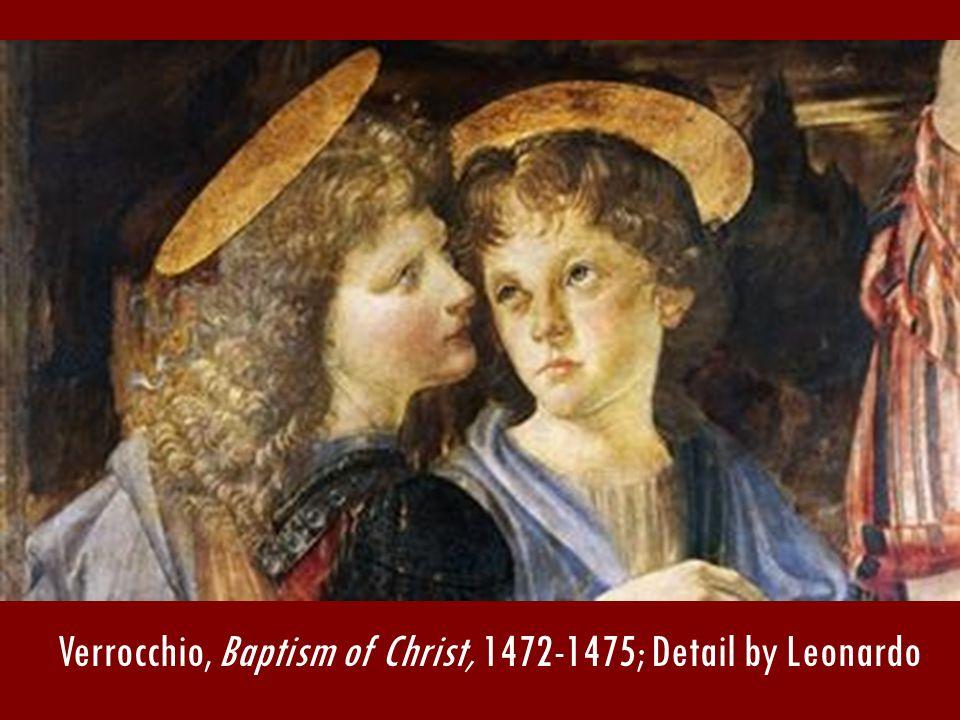 Verrocchio, Baptism of Christ, 1472-1475; Detail by Leonardo