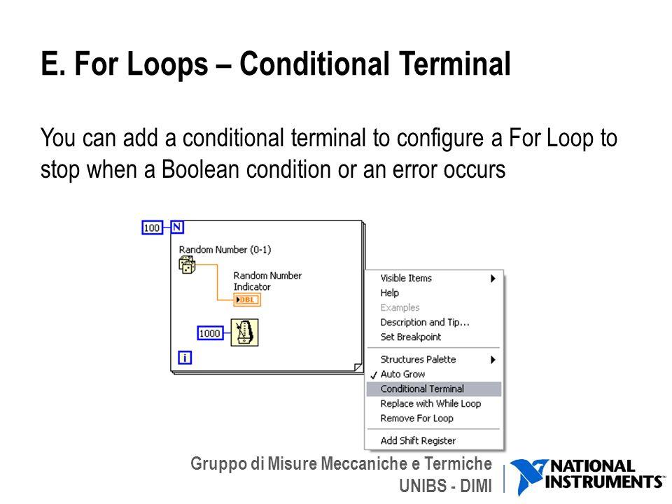 Gruppo di Misure Meccaniche e Termiche UNIBS - DIMI E. For Loops – Conditional Terminal You can add a conditional terminal to configure a For Loop to