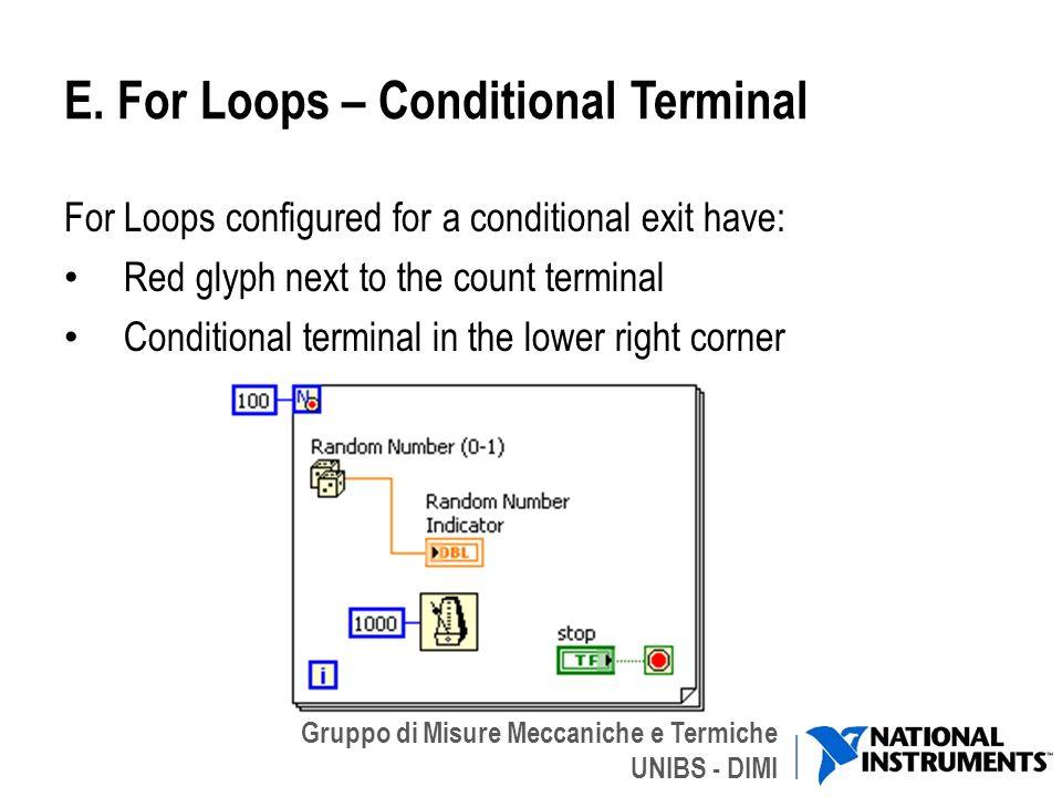 Gruppo di Misure Meccaniche e Termiche UNIBS - DIMI E. For Loops – Conditional Terminal For Loops configured for a conditional exit have: Red glyph ne