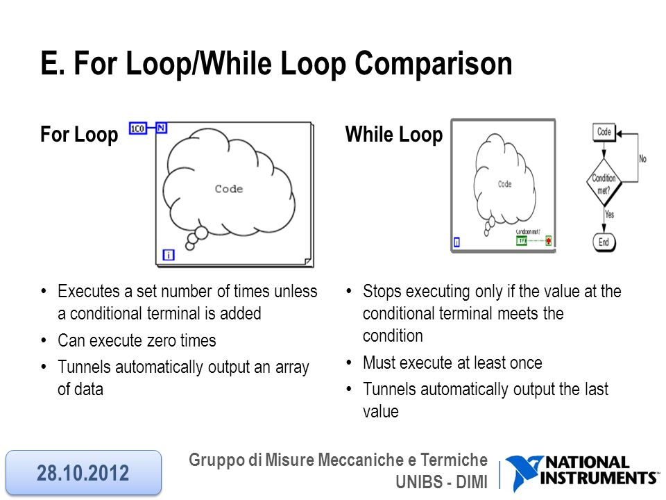 Gruppo di Misure Meccaniche e Termiche UNIBS - DIMI E. For Loop/While Loop Comparison For Loop Executes a set number of times unless a conditional ter