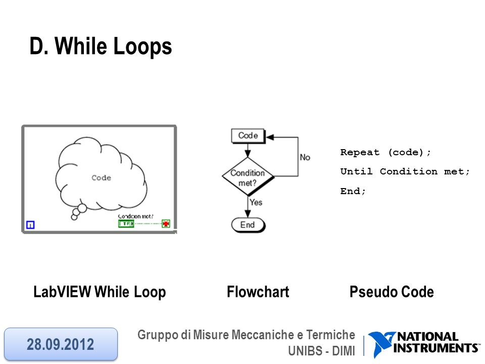 Gruppo di Misure Meccaniche e Termiche UNIBS - DIMI D. While Loops LabVIEW While Loop Flowchart Pseudo Code Repeat (code); Until Condition met; End; 2