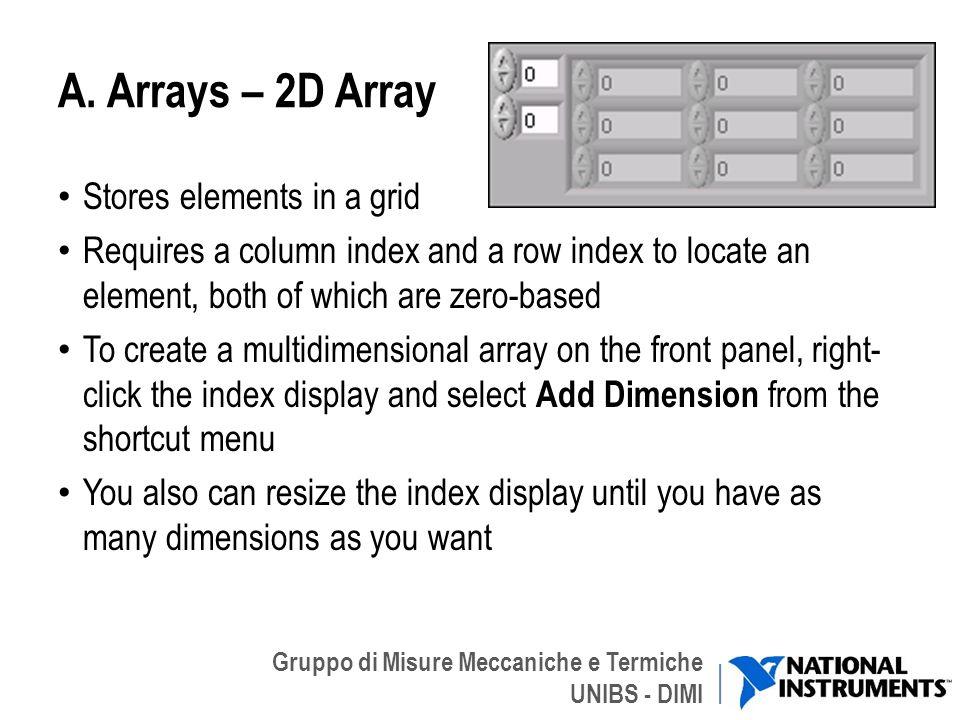 Gruppo di Misure Meccaniche e Termiche UNIBS - DIMI A. Arrays – 2D Array Stores elements in a grid Requires a column index and a row index to locate a
