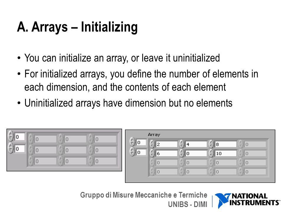 Gruppo di Misure Meccaniche e Termiche UNIBS - DIMI A. Arrays – Initializing You can initialize an array, or leave it uninitialized For initialized ar