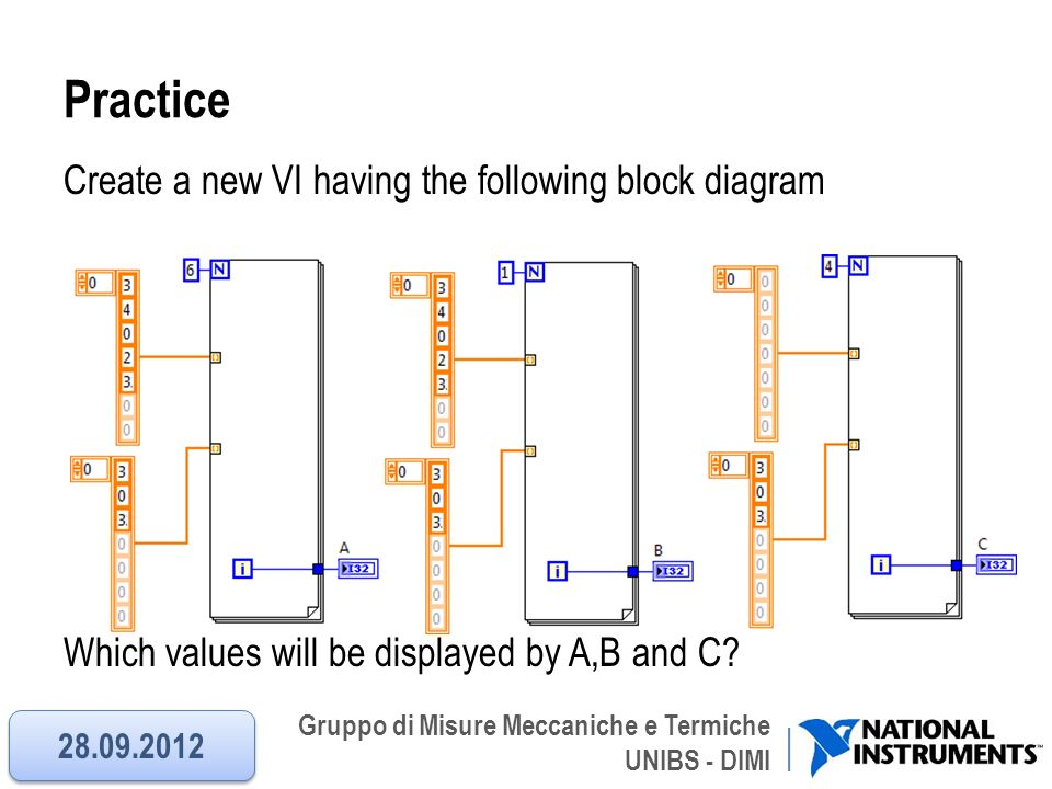 Gruppo di Misure Meccaniche e Termiche UNIBS - DIMI Practice Create a new VI having the following block diagram Which values will be displayed by A,B
